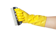 Hand in glove with a brush. Royalty Free Stock Images