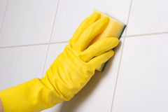 Hand in glove cleaning tile wall Royalty Free Stock Photos