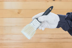 Hand in glove cotton holding brush paints Stock Images