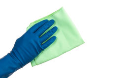 Hand in Glove Holding Rag Royalty Free Stock Photo