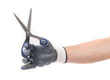 Hand in glove holding scissors. Royalty Free Stock Photography
