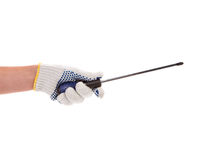 Hand in glove holding screwdriver. Stock Photography