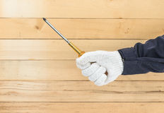 Hand in glove holding screwdriver Royalty Free Stock Image