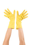 Hand in glove isolated over white background Royalty Free Stock Image