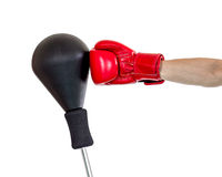 Hand in glove punch a punching ball Stock Image