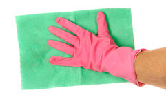 Hand in glove with rag Royalty Free Stock Image