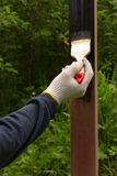 Hand in glove rag paint brush brown steel pole in black Royalty Free Stock Photo