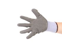 Hand in glove showing five. Royalty Free Stock Photography