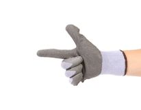 Hand in glove showing one. Royalty Free Stock Photography