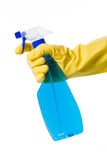 Hand in glove with spray bottle Royalty Free Stock Photo