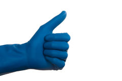 Hand in Glove Thumb Up Royalty Free Stock Photos