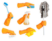 Hand in glove, tool set Royalty Free Stock Image