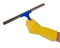 Hand in glove with the tool for washing Royalty Free Stock Photography