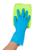 Hand with glove using cleaning mop to clean up royalty-vrije stock afbeelding