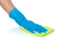 Hand with glove using cleaning mop to clean up Royalty Free Stock Photography