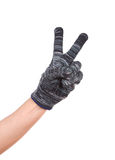 Hand in glove with victory gesture isolated Stock Photography