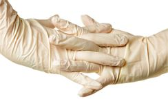 Hand with gloves Stock Photos