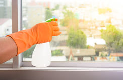 Hand in gloves cleaning window with rag and cleanser spray at ho. Hand  in gloves cleaning window with rag and cleanser spray at home. housework and housekeeping Royalty Free Stock Image