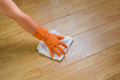 Hand in gloves cleaning Wooden floor with rag and cleanser  at Stock Images