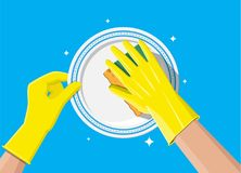 Hand in gloves with sponge wash plate. Cleaning service. Washing sponge. Kitchenware scouring pads. Kitchen and bath cleaning tool accestories. Dishwashing vector illustration