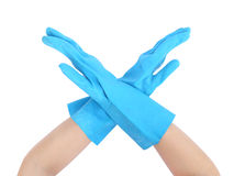 Hand with gloves and stopping on white background Stock Images