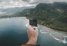 Hand, Go Pro, Camera, Selfie Royalty Free Stock Photos