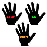 Hand go stop wait. Black silhouette hands with go stop wait on them Stock Photo