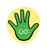 Hand Go on Yellow Background Illustration Royalty Free Stock Photo