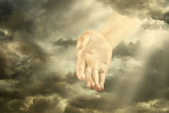 Hand Of God. Hand of a god down from the sky Stock Photos