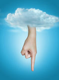 Hand of god. Point the finger.  Stock Photos