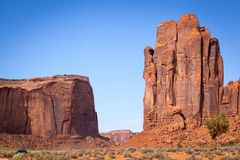 The Hand of the God and Thunderbird Mesa, Monument Valley Royalty Free Stock Images