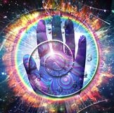 Hand of God. Vivid galaxy. God`s hand and spirals of time. 3D rendering royalty free stock photo