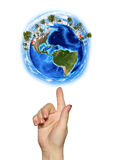 Hand goes to the planet Earth Royalty Free Stock Photos