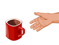 Hand goes to the red cup of coffee Royalty Free Stock Photography