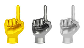 Hand gold chrome steel. Set of warning caution hands or pointers (creative design element). Gold, chrome, steel hands as symbol of danger notice, focus attention Stock Photo