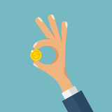 Hand With Gold Coin Flat Vector Illustration. Businessman holding in his hand gold coin. Business success, profit, finance, making money concept. Man shows Stock Images