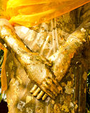 The hand of Golden buddha image. Stock Photos