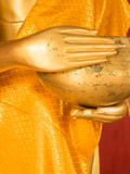 Hand of Golden Buddha Statue with begging bowl in Thailand Buddh Stock Photos