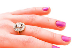 Hand with golden ring isolated royalty free stock image