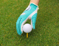 Hand with golf ball Stock Photography