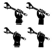 Hand grab adjustable wrench silhouette Royalty Free Stock Images