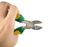 Hand grab the Cutting pliers Stock Photo