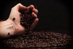 Hand grabbing coffee beans. Royalty Free Stock Photos