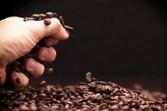 Hand grabbing coffee beans. Royalty Free Stock Photo