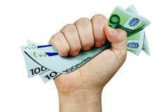 Hand Grabbing Money Euro Isolated. Male hand grabbing 100 Euro bills isolated on white Royalty Free Stock Image