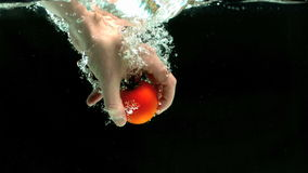 Hand grabbing tomato from water stock video footage