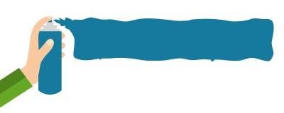 Graffiti Banner blue on white - Flat Design. Hand with graffiti can spraying Flat Design banner blue on white Stock Images