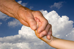 Hand of grandmother and grandchild Stock Photography