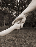 Hand grandmothers and young child. Child takes the hand of her grandmother Stock Images