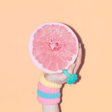 Hand and grapefruit, vanilla accessories royalty free stock photos